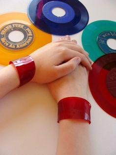 Recycled Record Cuff-Red Colored Vinyl,eco jewelry