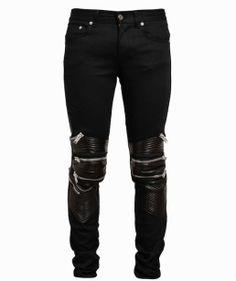 Saint Laurent Leather Paneled Zip Biker Pants and Maison Martin Margiela Sneakers | UpscaleHype