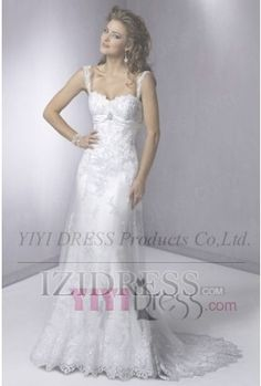 OUR PRICE: $169.99 A-Line/Princess Spaghetti Straps Sweetheart Court Train Lace Wedding Dress