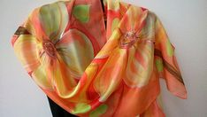 Coral Silk Scarf Hand Painted Blossom Ornament. Coral Pink