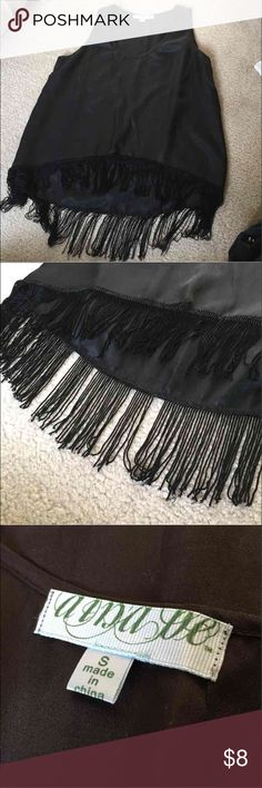 Silky Black Tassel Tank From Francesca's Size Small but runs a bit big so could also fit a Medium  Perfect going out Shirt, missing a few tassels, reflected in the price Francesca's Collections Tops Tank Tops