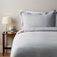 100% Pure French Linen - Single Duvet Cover - Soft Blue