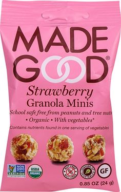 Gluten free and absolutely delicious! These snacks will leave you feeling full and happy on the inside. Find them today on Gluten Free Oats, Gluten Free Recipes, Snacks List, Snack Recipes, Cherry Juice Concentrate, Best Granola, Peanut Tree, Strawberry Puree, Mini Foods