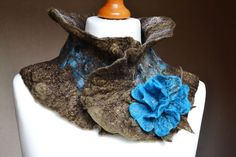 Handmade Nuno Felted Wool Silk Scarf Neck warmer with Flower Brooch Wearable Art textural textile art fashion cowl collar, lagenlook, steampunk, victorian gothic ,eco boho style design