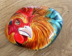 Hand painted rock cockerel by Cobblecreatures on Etsy