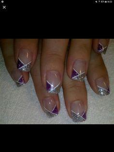 Ich habe nach einer Idee gefragt Diva Nails diva nails near me Purple Nail Designs, Gel Nail Art Designs, French Nail Designs, Sparkle Nails, Silver Nails, French Nails, Nagellack Design, Gel Nagel Design, Nagel Hacks