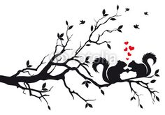 squirrels on tree, vector - MaMurale.com