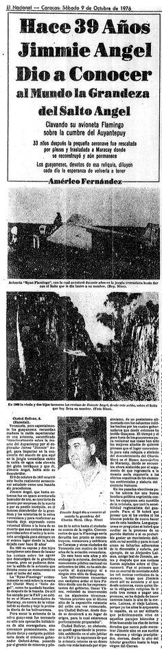 Hace 39 años Jimmie Angel dio a conocer al mundo la grandeza del Salto Ángel. Publicado el 09 de octubre de 1976.   -LBK-