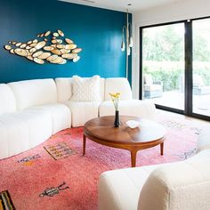 Erin Williamson Design: Loloi Rugs, moroccan rug, galapagos turquoise, Milo Baughman, Photo taken by Instagram @sterinwilliamson styling by @everythingdistinct