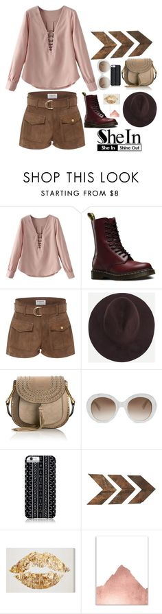 """""""Shein: Coffee Fedora Hat"""" by clairejagus on Polyvore featuring Dr. Martens, Frame Denim, Chloé, Gucci and Savannah Hayes"""