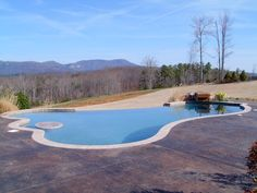 Gunite swimming pool with negative edge and stained concrete.