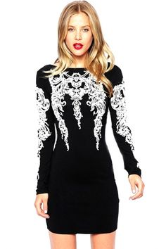 Tattoo Sleeve Embellished Bodycon Mini DressOASAP Giveaway, 10 pieces per day, till the end of 2014! Easiest way to get free clothing!