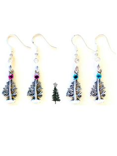 Silver Christmas Tree Earrings, 925 Sterling Silver Wires, Iceberg or Cranberry Rhinestone Accents, O Tannenbaum, Holiday Jewelry Green Red by RubyAppleJewelry on Etsy