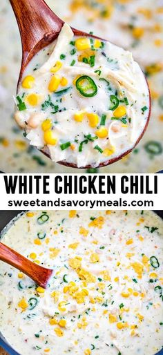 White Chicken Chili Recipe is super easy to make and is full of spicy chili flavor, chicken and white beans. #chicken #chili #soup #souprecipe #whitechili #sweetandsavorymeals