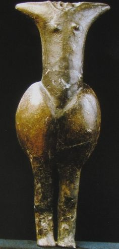 "Female Figurine from Eggendorf  Circa: 4500 BC  Female Figurine from Eggendorf am Walde, Lower Austria, found during the 1930ies and displayed in the Höbarth Museum at Horn. It is dated to the early Lengyel ""culture"" at about 4500 BC. The figurine art of the Lengyel complex included numerous animal and human representations: standing or seated females with atrophic head, marked pubis and raised arms (adorants?)."