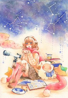 Iinuma Chika, Pillow, Drawing (Object), Telescope, Tea, Teacup