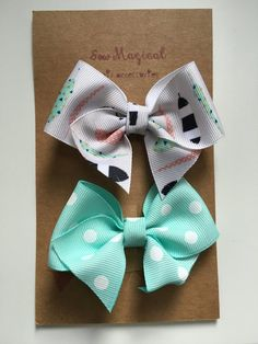 $4.75 Set of 2 Clip in Hair Bows by SewMagicalByAndrea on Etsy