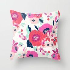 Janis Floral White Throw Pillow