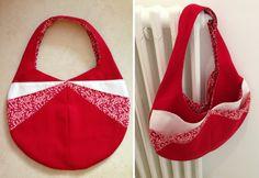 Cousu par Agathe P. Rouge et Liberty - Patron sac Candy