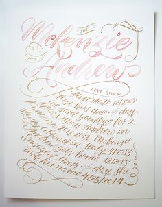 Calligraphy: McKenzie and Andrew Wedding - ISLY   I Still Love You