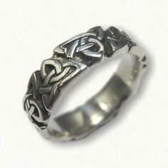 Sterling Silver Celtic Triangle Knot Wedding Band -sculpted edges - antiqued