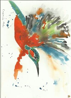 Kingfisher flying  Original watercolour painting Size A4 by Casimira Mostyn