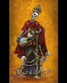Day of the Dead Art by David Lozeau, Father Time, Dia de los Muertos Art