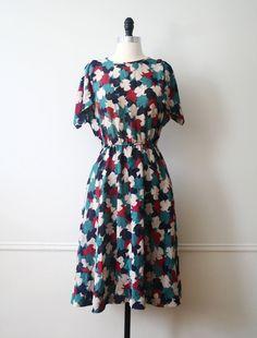 Vintage Dress 70s Floral Leaves Japanese Fall Dress. $48.00, via Etsy.