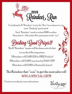 Reindeer Run, Reindeer Names, Thirty One Party, Thirty One Gifts, Direct Sales Games, 31 Party, Thirty One Consultant, Independent Consultant, Discovery Toys