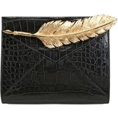 INES FIGAREDO Crocodile Leather Envelope Clutch (445320 RSD) ❤ liked on Polyvore featuring bags, handbags, clutches, purses, сумки, black, handbags purses, crocodile leather purse, crocodile skin purse and crocodile skin handbags