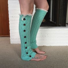 Mint lace leg warmers NWT retail mint and lace button up leg warmers. Perfect addition to warm up and look fashionable! Multiple available. 22 inches long. Hand dyed brushed mohair. Three Bird Nest Accessories Hosiery & Socks