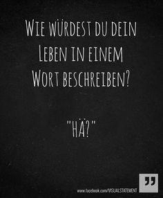 Wie würdest du dein Leben in einem Wort beschreiben? - Häh? // how would you describe your life with only one word? - whut?