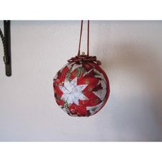 This beautiful handcrafted quilted ornament is designed with the traditional star. I used red and white Christmas fabric. Handcrafted Christmas Ornaments, Quilted Ornaments, Fabric Ornaments, Ball Ornaments, Handmade Christmas, Christmas Fabric, White Christmas, Christmas Bulbs, Gemstones