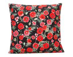 Poppy Cushion, cotton canvas made in Britain