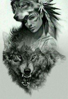 58 Ideas Tattoo Wolf Girl Drawing Native American For 2020 Native American Wolf, Native American Tattoos, Native Tattoos, Native American Drawing, American Indians, Wolf Tattoo Design, Tattoo Design Drawings, Indian Tattoo Design, Wolf Drawings
