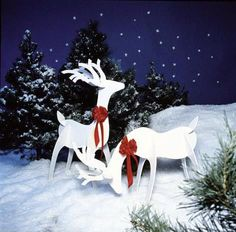 Graceful #Reindeer Project Plans. Add #holiday spirit to your yard or home's interior this season with our graceful duo of reindeer. They measure 3x4' and can be cut out in an evening using our full-sized patterns. Once the deer are painted and assembled, stand them where guests can marvel at their beauty and simplicity. After the new year, disassemble and stack the parts flat for easy space-saving storage.