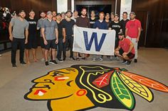 The Blackhawks showing support for the Chicago Cubs during their playoff run!