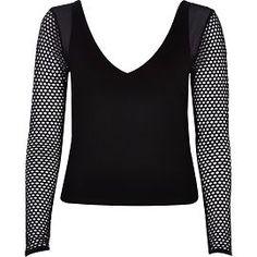 River Island Womens Black mesh sleeve top