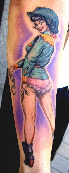 Police Sheriff Pin Up Girl Tattoo - Matteo Pasqualin http://pinupgirlstattoos.com/police-sheriff-pin-up-girl-tattoo/