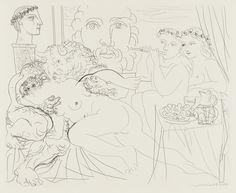 """Pablo Picasso. Self-Portrait in Three Forms: Crowned Painter, Bust of the Sculptor, and Amorous Minotaur (Autoportrait sous trois formes: peintre couronné, sculpteur en buste, et Minotaure amoreux) from the Vollard Suite (Suite Vollard). 1933, published 1939. Etching. plate: 11 11/16 x 14 1/2"""" (29.7 x 36.8 cm); sheet: 13 x 17 1/2"""" (33 x 44.5 cm). Vollard, Paris. Lacourière, Paris. 260. Abby Aldrich Rockefeller Fund. 226.1949. © 2017 Estate of Pablo Picasso / Artists Rights Society (ARS), New…"""