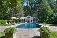 "Symmetrical poolhouse -- ""Northshire,"" designed by architect Mott Schmidt, built in 1934 -- mls 3208238"
