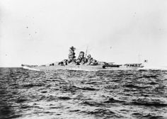 Okinawa, April - June 1945: The Japanese battleship YAMATO which was sacrificed in a desperate attempt to stop the American invasion of Okinawa. Note the ship's pagoda mast, the superstructure featuring a mass of platforms that included watch points, searchlights, and spotting points. Pagoda masts were common on Japanese capital ships.