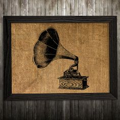 Gramophone print. Retro poster. Burlap decor. Vintage print.  PLEASE NOTE: this is not actual burlap, this is an art print, the image is printed on