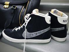 DIY crystal studded sneakers