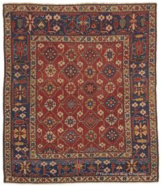 "New Addition to the Bostonian Collection:   Caucasian Shirvan Blossom Rug, 4ft 2in x 4ft 9in, 3rd Quarter, 19th Century.   Dramatic large-scale botanical motifs in both the field and border and fluid serpentine vinery create great impact in this unusually finely knotted 19th century ""Blossom Shirvan"" Caucasian rug. In this 150 year old tribal antique rug, whimsical abstracted flowerheads are drawn with an animated individuality that builds to produce a design of seldom seen energy."