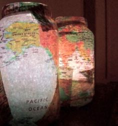 18 ways to découpage mason jars!! --Glowing Maps might be my favorite! Just pick a location that's special to you <3
