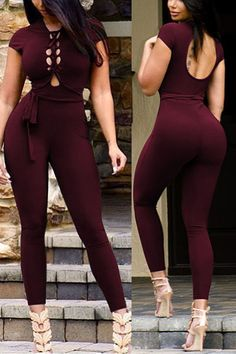 Stylish Round Neck Short Sleeves Hollow-out Wine Red Twilled One-piece Skinny Jumpsuits Sexy Outfits, Chic Outfits, Trendy Outfits, Girl Outfits, Wholesale Fashion, Wholesale Clothing, Shoes Wholesale, Look Fashion, Trendy Fashion