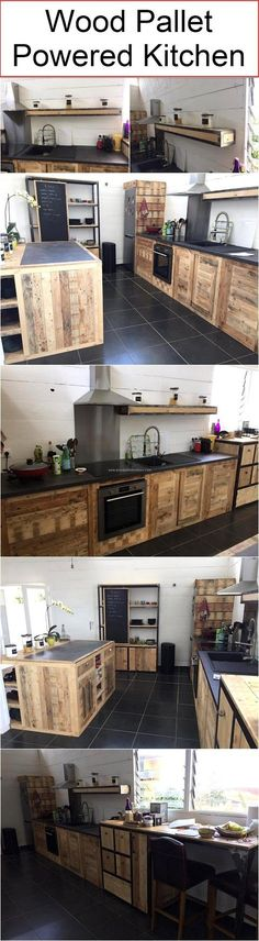 Just a few moments back we were talking about the real power and potential of the shipping wood pallets, and here we came up with a truly new approach. Like we are presenting here a wood pallet powered kitchen, sounds like a really great idea right? Kitchen Decor, Kitchen Design, Kitchen Wood, Kitchen Furniture, Kitchen Ideas, Kitchen Storage, Sweet Home, Diy Casa, Pallet Designs