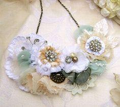 Wedding Flower Bib Statement Necklace  White ❤ by PickleBerryTrifles, $110.00