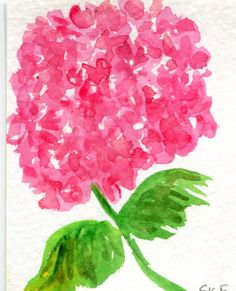 ACEO Pink Hydrangea Original Watercolor by SharonFosterArt on Etsy
